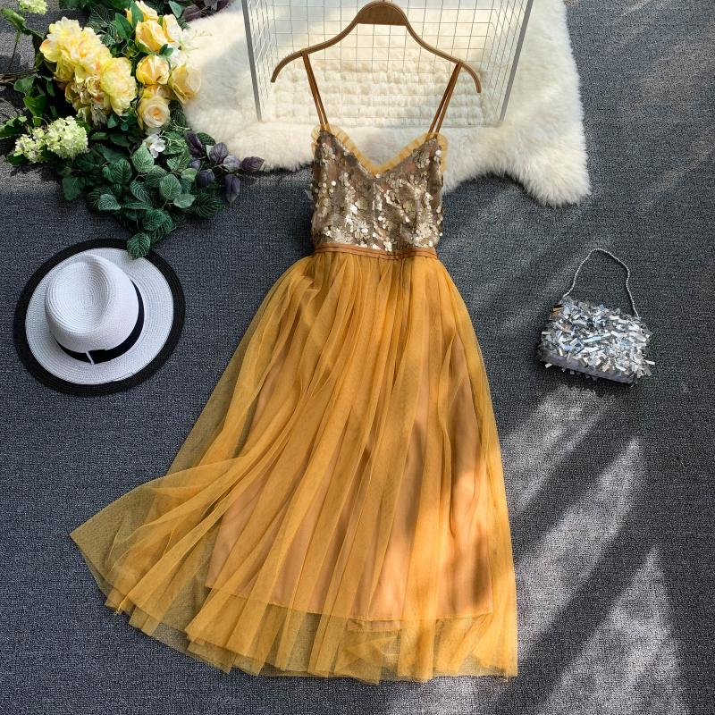 V-Neck Sequins Backless Sleeveless A-line Dress 1