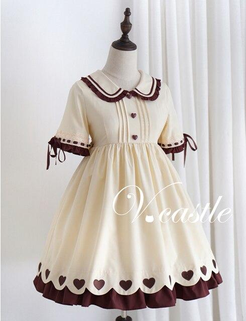 a3206d2e1c78 Caramel Pudding Women s Cute Beige Lolita Dress Short Sleeve Heart Buttons Summer  One Piece Color Beige