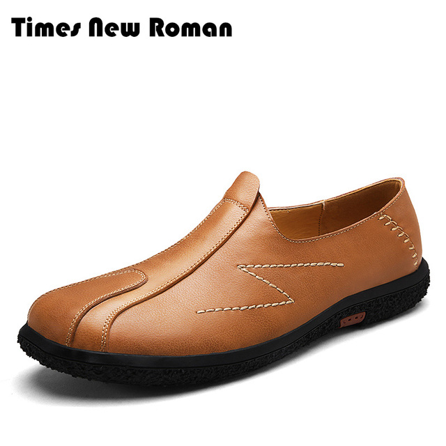 ad100e30928 Times New Roman Fashion style men handmade Genuine Leather men shoes  British style men s casual loafers