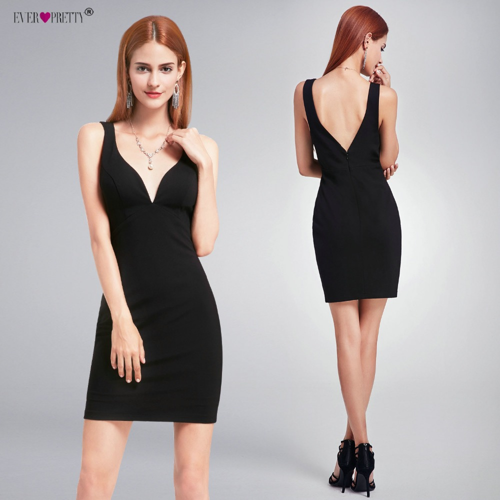 Sexy Cocktail Dresses Ever Pretty EP05851BK New Sleeveless Modern V-neck Black Short Party Dresses for Women Homecoming Dresses