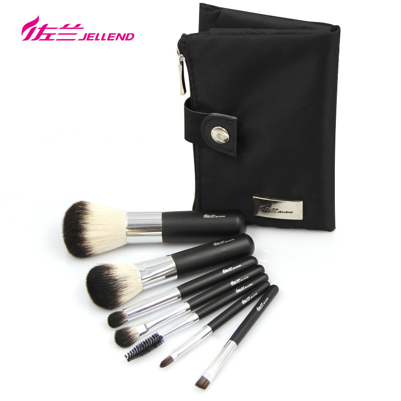 JELLEND Premium Professional 7pcs Makeup Brush High Quality Natural Goat Horse Synthetic Hair Cosmetic Brushes Set with Holder anmor high quality 26 pcs professional makeup brush set goat hair cosmetic brush set with brush bag bz002