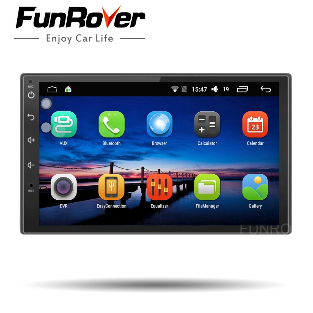 Funrover Universal 2 Din Android 8.0 Car Dvd Player Navigation GPS wifi Bluetooth radio quad Core RDS stereo multimedia no dvd funrover 9 hd quad core ram 2g android 8 0 car navigation gps player for suzuki sx4 2006 2013 wifi rds radio bt fm usb no dvd
