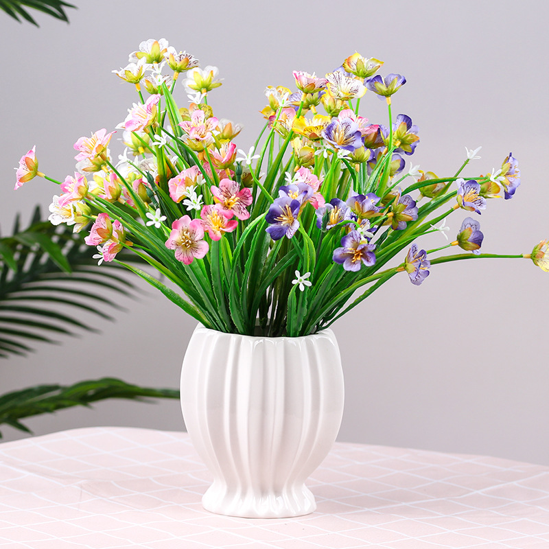 20 Heads Bouquet Silk Artificial Flowers Butterfly Orchid Home Decoration Living Room Fake Flower Placement Plastic Bouquet Artificial Dried Flowers Aliexpress