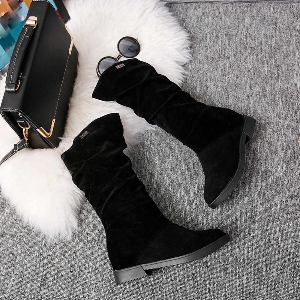 CAGACE 2018 Women Brand Autumn Winter Boots Female Round Toe Mid-calf Princess Sweet Boot Stylish Flat Flock Shoes Snow Boots