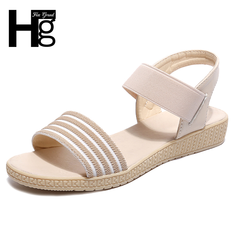 HEE GRAND Elastic Band Rubber Striped Woman Sandal Flats With Causal Platfrom Gladiator Woman Shoes Plus Size 35-41 XWZ5060