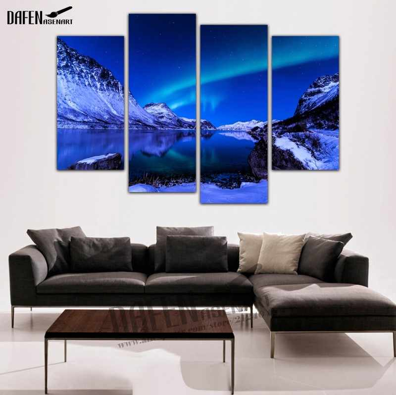 4 Panel Framed Wall Art Night Aurora Borealis Snow Mountain Landscape Painting Picture Canvas On Print For Home Bedroom