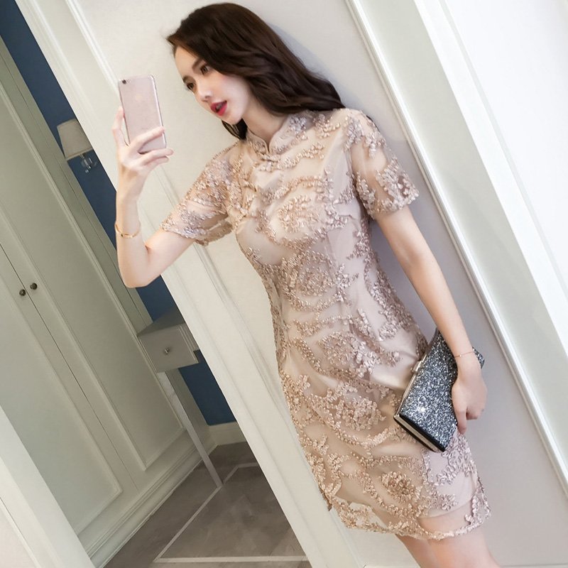 2020 Retro Chinese Traditional Qipao Women Lace Chiffon Cheongsam Female Sleeveless Crane Print Improved Cheongsam Dress