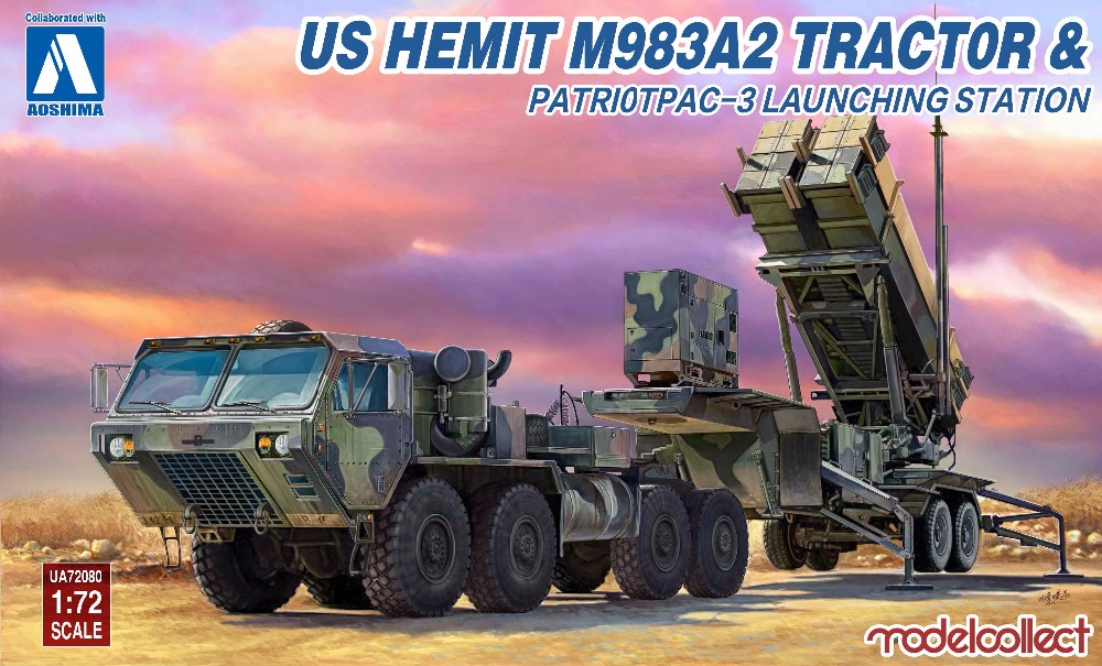 Modelcollect Aoshima UA72080 1 72 US HEMTT M983A4 Tractor Patriot PAC 3