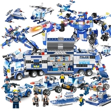 Updated Version SWAT City Police Series 8 in 1 Truck Robot Aircraft Building Blocks Toy For Boy Compatible with Legoed police station swat hotel de police doll military series 3d model building blocks compatible with lego city boy toy hobbies gift