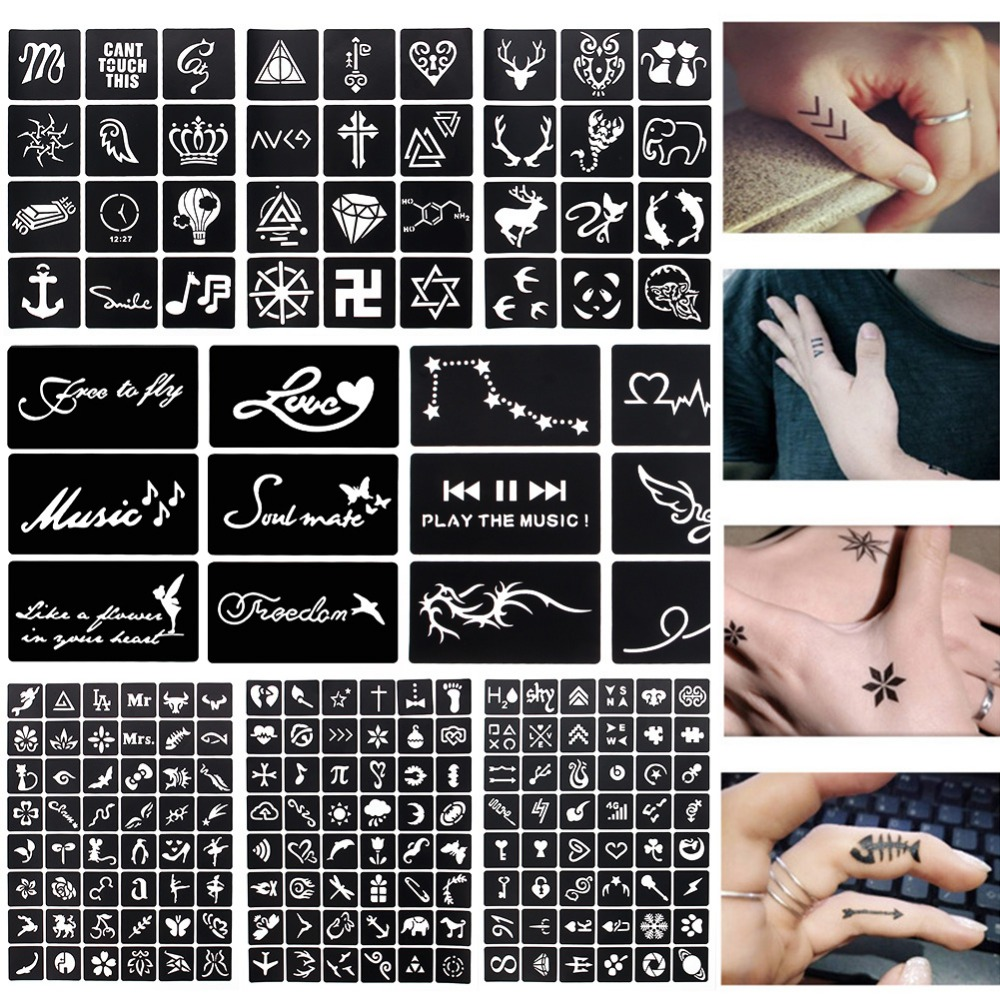 17 Sheet 264 Maps Professional Waterproof Henna Tattoo Templates Temporary Glitter Airbrush Tattoo Hand Finger Drawing #242095