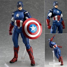 Avengers Superheros Captain America Figma 266 PVC Action Figure Collectible Model Kids Toys Dolll 16cm(China)