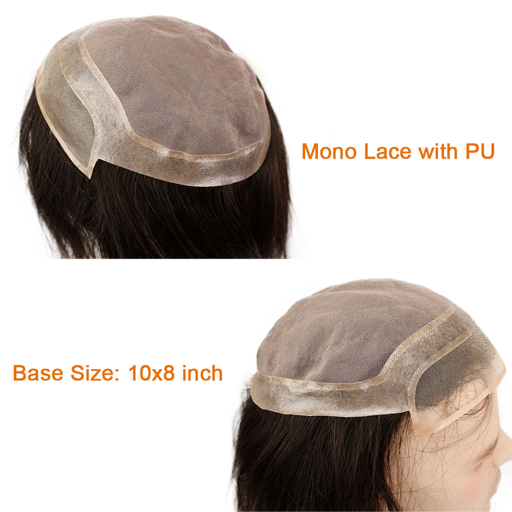 12 Long Mens Toupee Hairpiece Mono Lace With PU Replacement Men Toupee Wig Straight Brazilian Remy Human Hair 10 x 8 Toupees - 5