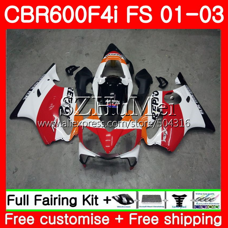 Body For HONDA CBR 600 F4i CBR 600F4i CBR600FS 600 FS 48SH0 CBR600 F4i 01 02 03 CBR600F4i 2001 2002 2003 Repsol orange FairingsBody For HONDA CBR 600 F4i CBR 600F4i CBR600FS 600 FS 48SH0 CBR600 F4i 01 02 03 CBR600F4i 2001 2002 2003 Repsol orange Fairings