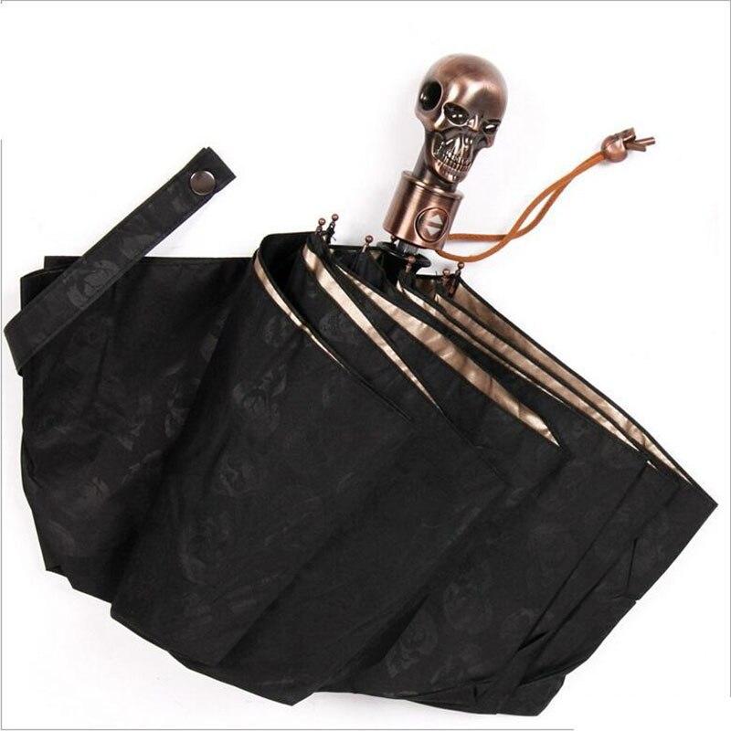 Devil Skull Handle Umbrella 3 Folding Fully-automaticlly Male UV Sun Rain Male Windproof Umbrellas Rain Gear Gift