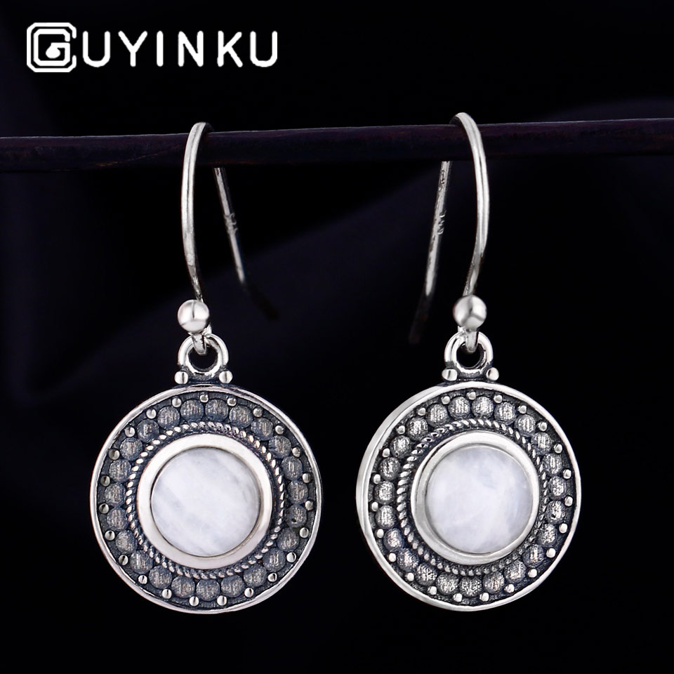 GUYINKU Romantic Natural Moonstone Round Shape Drop Earrings 925 Sterling Silver Jewelry For Women Party Gift Fine Jewelry in Earrings from Jewelry Accessories