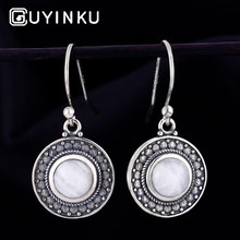 GUYINKU Romantic Natural Moonstone Round Shape Drop Earrings 925 Sterling Silver Jewelry For Women Party Gift Fine
