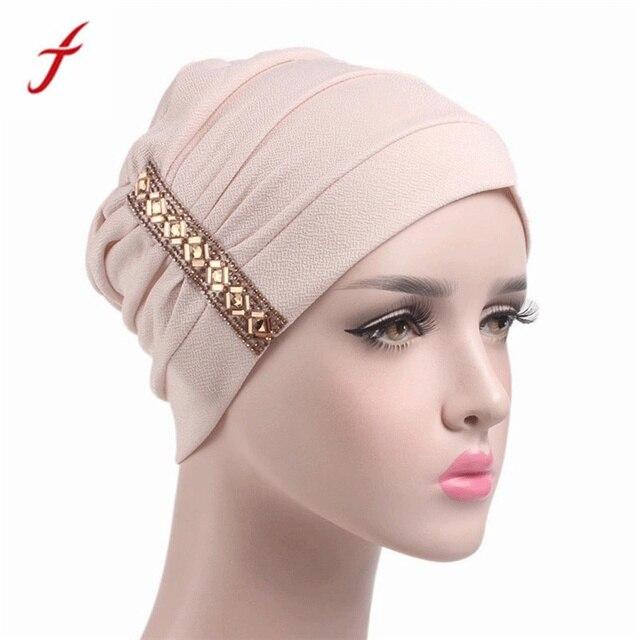 49ef5a511a5 FEIOTNG 2019 New Arrival Beanies Sequins Women Cancer Chemo Hat Beanie  Scarf Turban Head Wrap Cap gorro feminino bonnet