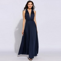 Backless V Neck Sexy Party Dresses Sleeveless High Waist Solid Maxi Dress Plus Size 10 Colors