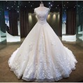 Real Photo V-Neck Bridal Gown Strapless Lace Up beaded Lace Royal Train Wedding Dresses Custom Made Robe De Mariage vestido long