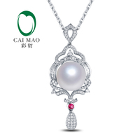 14k White Gold 11mm Round Southsea White Pearl & Pink Tourmaline Engagement Diamond Pendant Free shipping for Christmas