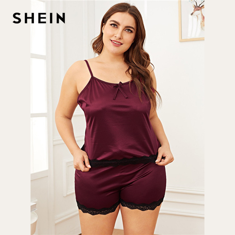 SHEIN Plus Size Women Summer   Pajama     Set   Lace Trim Burgundy Cami Top With Shorts Sleepwear Sleeveless Spaghetti Strap Nightwear