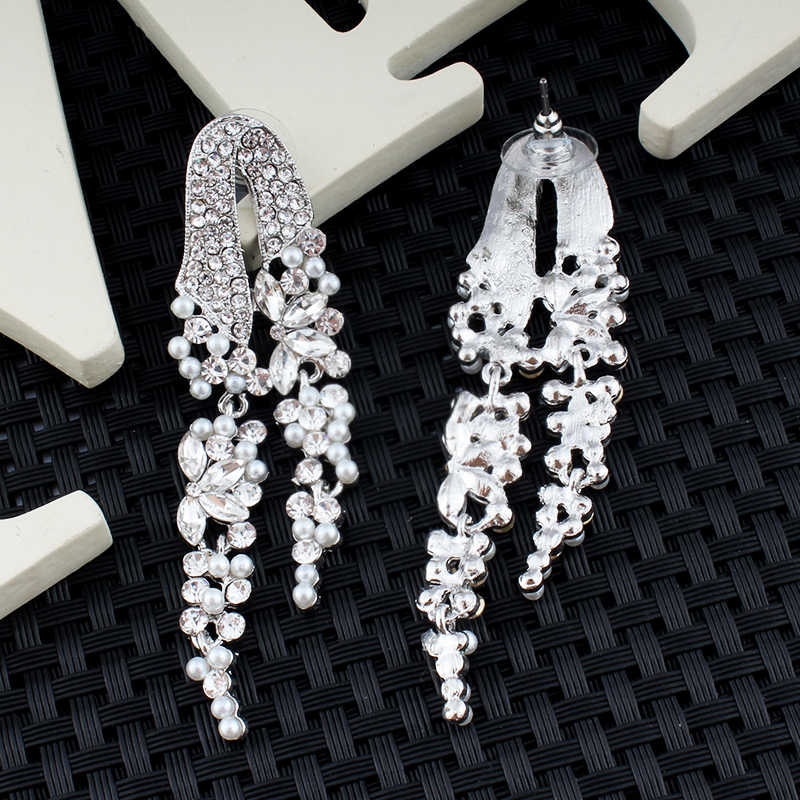 jiayi jiaduo Silver Color Butterfly Crystal Long Drop Earrings for Women Bridal Wedding Dangle Earrings Engagement Gift  2018