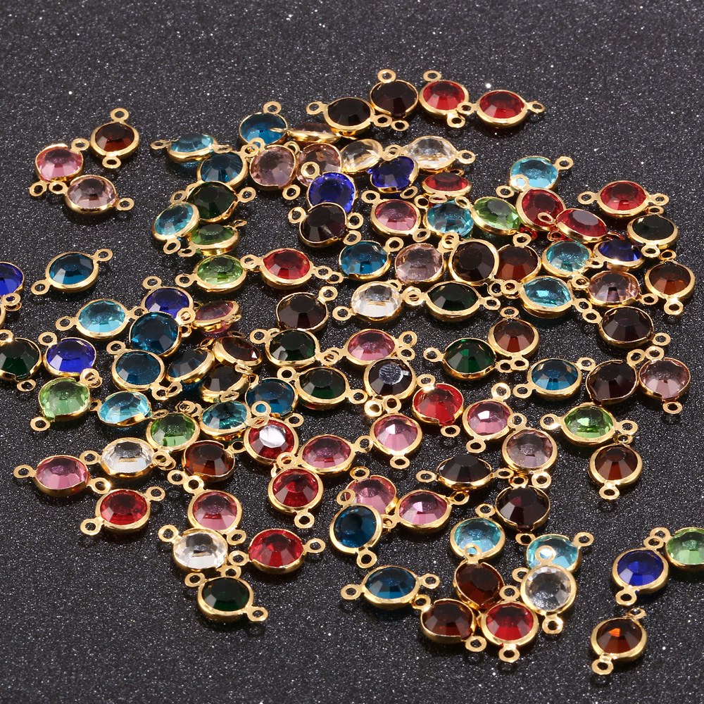 40pcs/lot 8.5mm Colorful Birthstone Crystal BeadS Stainless Steel Connectors Gold Beads For DIY Necklace Earrings Jewelry Making