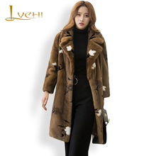 LVCHI Women coat Mink Fur Suit collar desgin Winter 2017 Thick Warm Ladies Fur Medium Coat Fur Flower Pattern clothes for women