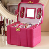 Purple Color Korean Style Jewelry Boxes Wood Frame Structure Jewelry Box High Grade Leather Jewelry Race