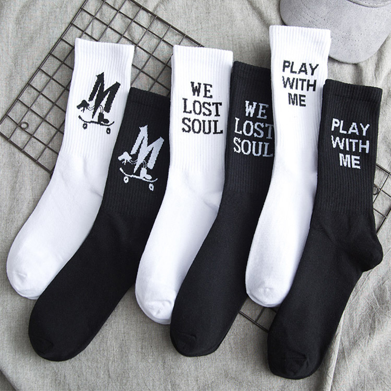 Men's black and white   socks   casual cotton   socks   fashion hip hop style new   socks   skateboarding sports funny   socks   happy   socks