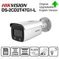 Hikvision original colorvu câmera ip DS-2CD2T47G1-L 4mp bala em tempo integral cor poe câmera ip h.265 cctv câmera sd slot para cartão