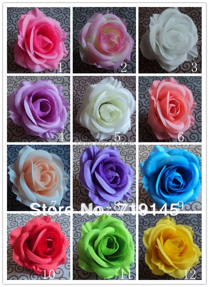 100PCS 9CM 13colors artificial rose flower head diy wedding car ...