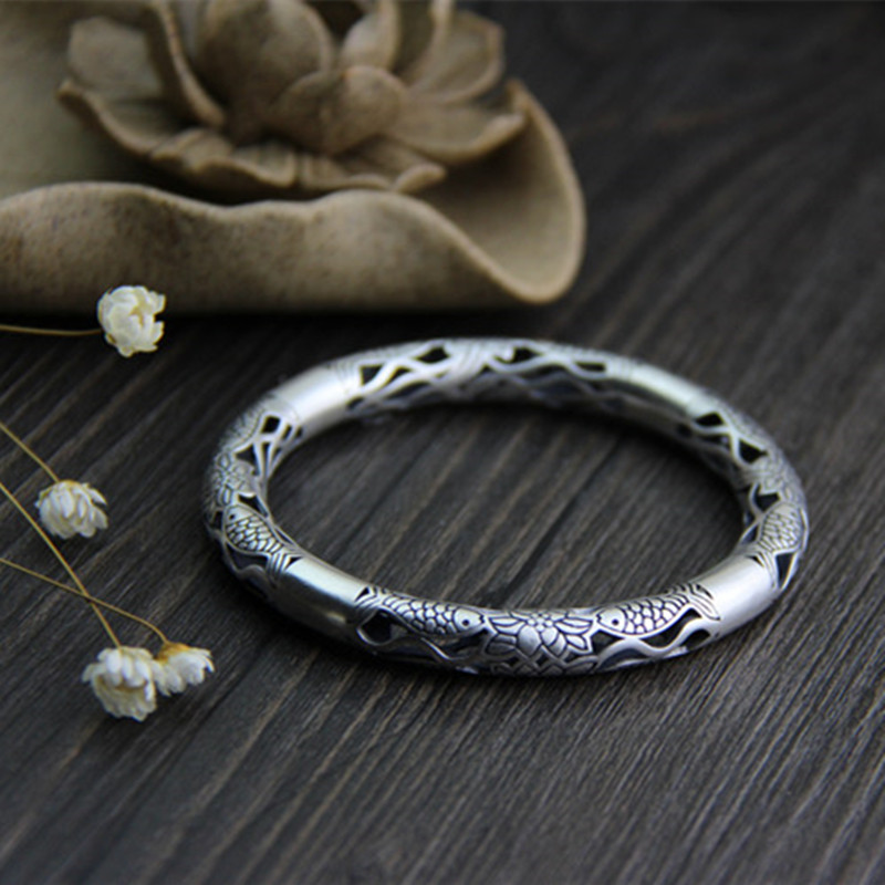 S999 Sterling Silver Carved Fish Bangle For Women Thai Silver Jewelry High Quality Vintage Heavy Bracelet brazalete de joy s999 sterling silver carved peony flower bracelet silver pendant bracelet for women