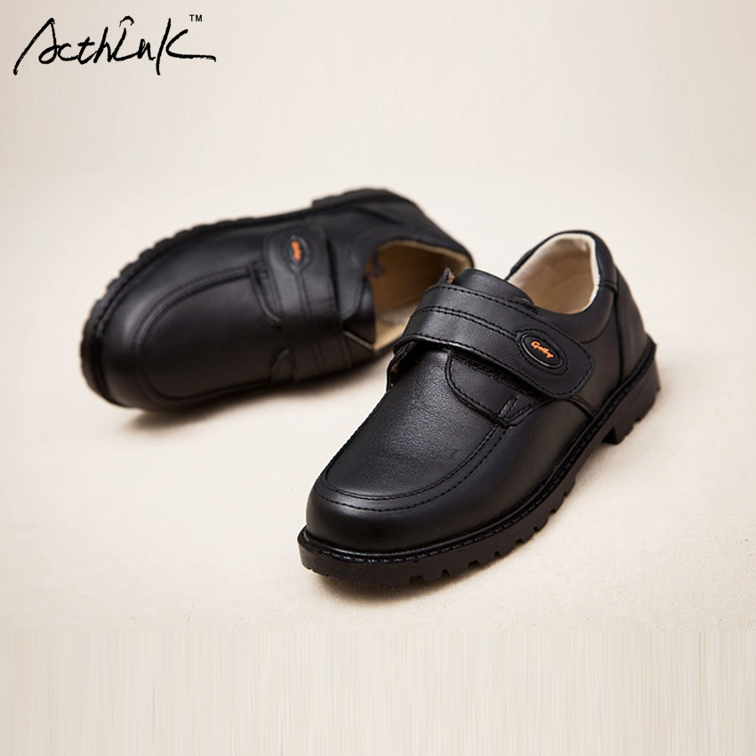 Acthink New Kids Genuine Leather Wedding Dress Shoes For Boys Brand Children Black Formal Wedge Sneakers S011