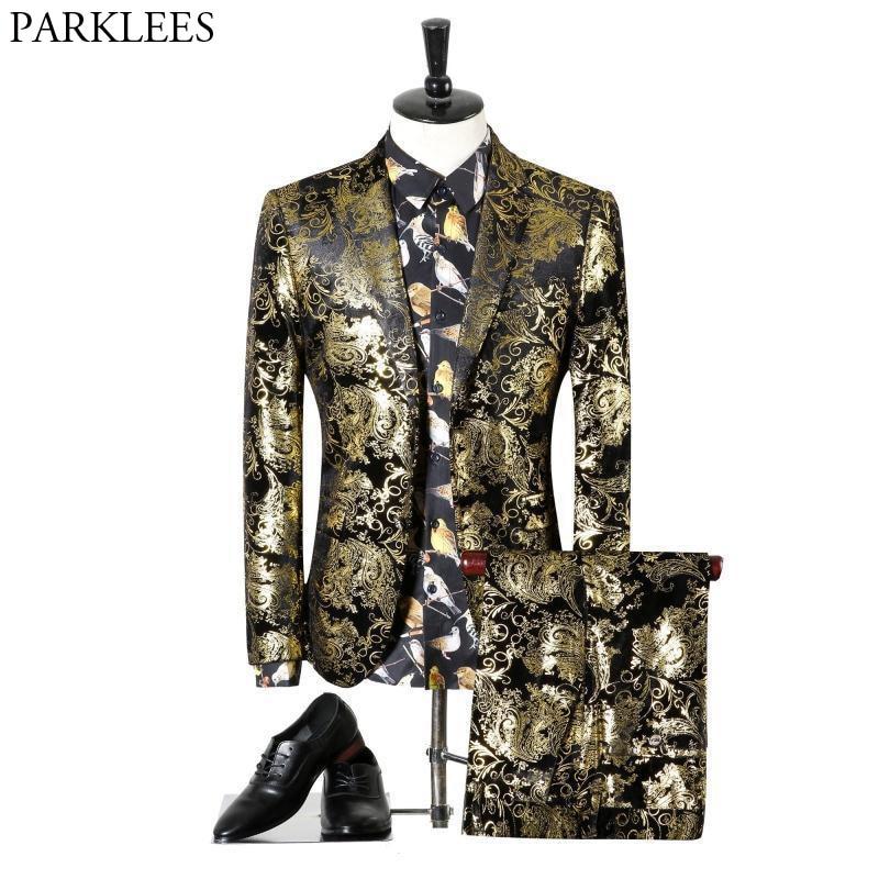 jacke + Pants Herren Gold Paisley Floral Anzug Blazer 2018 Luxury Brand New 2 Stück Anzug Hochzeit Prom Smoking Anzüge Benutzerdefinierte Homme Moderater Preis