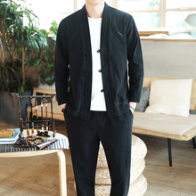 Autumn New Cotton Linen Men 2 pieces Set Jacket + Trousers Vintage Casual Slim With Pants Chinese Style Male Sets