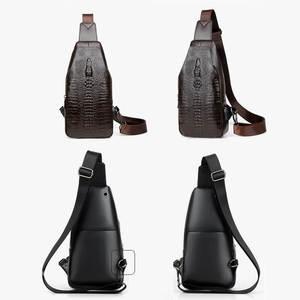 Image 3 - Neue Mode Männer Brust Tasche Messenger Taschen Leder USB lade Reisetaschen Beiläufigen männer Schulranzen Taschen Krokodil muster Crossbody tasche