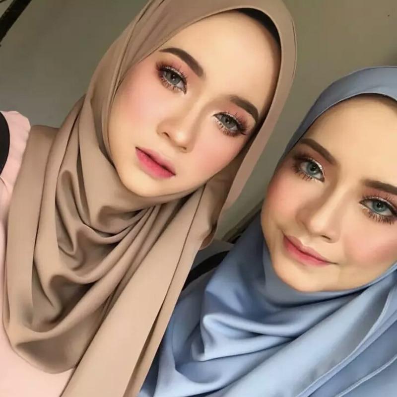 2019 New Silk Muslim Wrap Instant Hijab Women Scarf Shawl Headscarf Satin Pashmina Bandana Islam Foulard Femme Musulman Turban