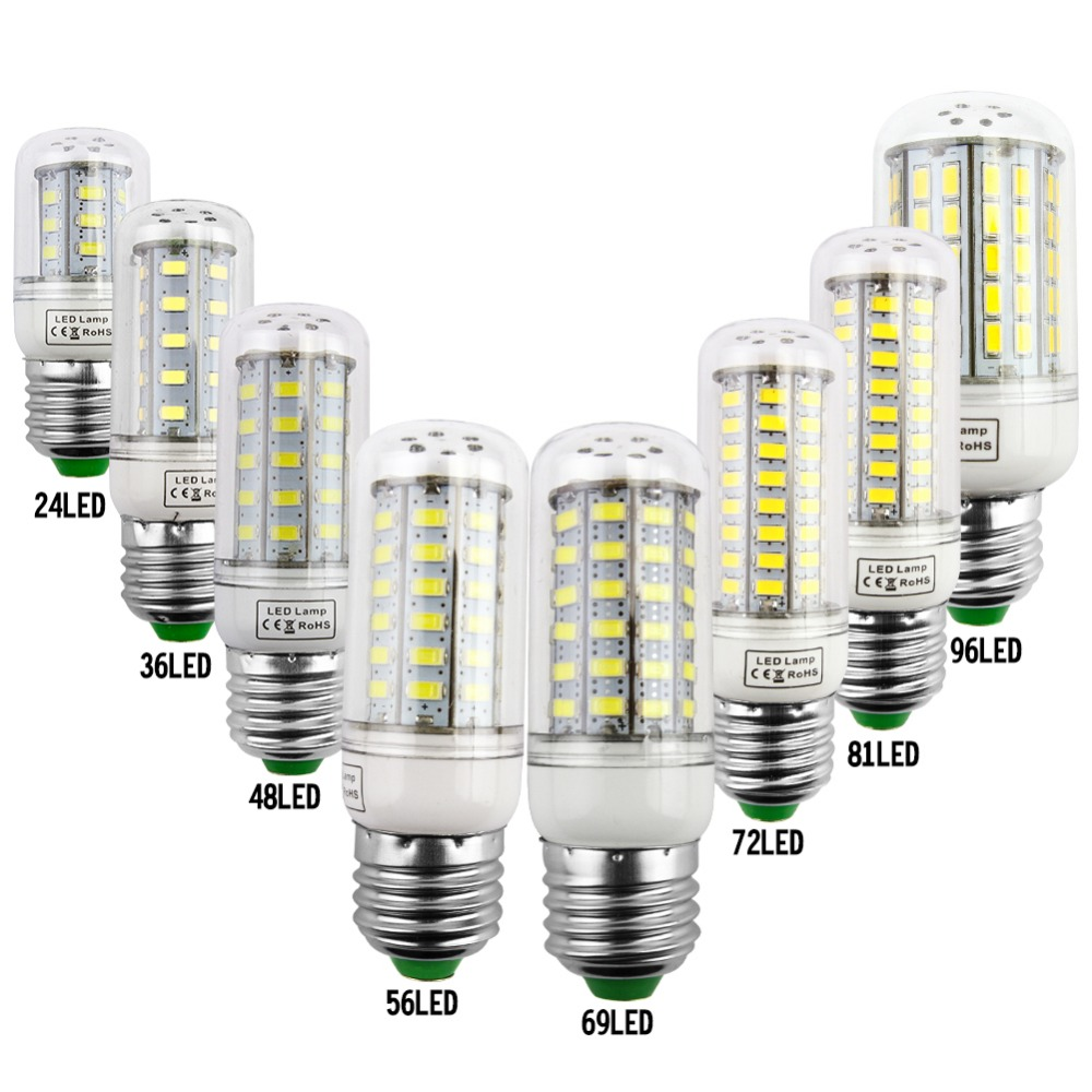 E27 LED Lamp E14 LED Corn Bulb Lampada 24 36 48 56 69 72LEDs Chandelier Candle LED Light SMD5730 220V 240V For Home Decoration