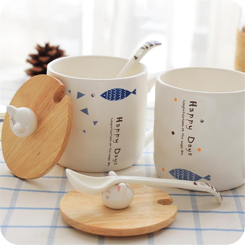 Cartoon Cute 3D Cat Fish Mugs Cup Set Creative Milk Tea Drink Breakfast Ceramic Cups Plates Coffee Cup Wooden Lid + Spoon Gift (13)