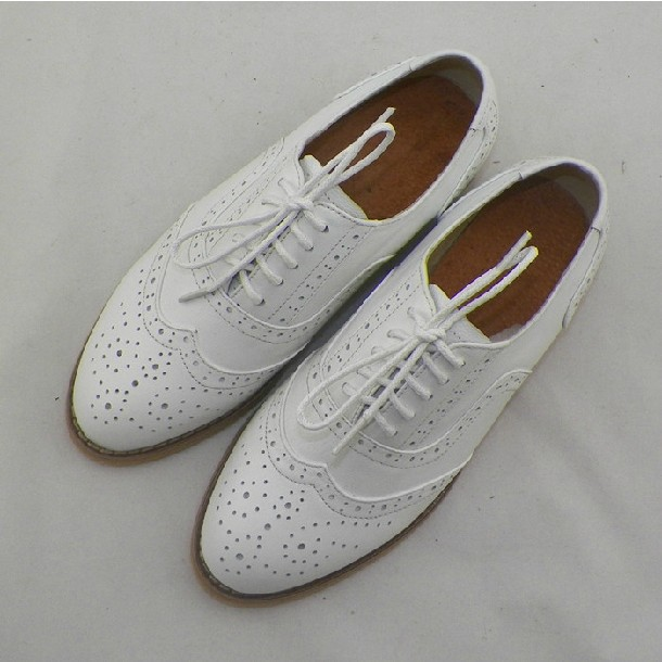 Buy ladies white leather brogues cheap