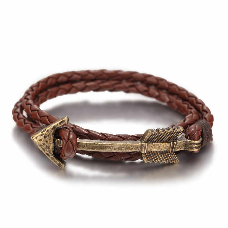2016 New Arrival Multilayer charm leather Vintage Bronze  Arrow bracelet anchor bracelet for men women lovers' gift