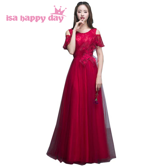 Latest Wine Red Lace 2018 Elegant Vintage Burgundy Bridesmaid Dress With Corset Back Long Tulle Confirmation