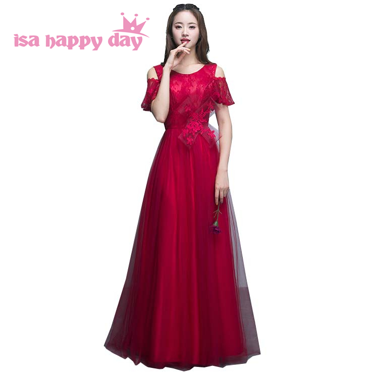 latest wine red lace 2019 elegant vintage burgundy   bridesmaid     dress   with corset back long tulle confirmation   dresses   H4162