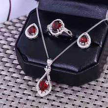 Natural red garnet gem jewelry sets natural gemstone ring Pendant earrings 925 silver Elegant water drops women party jewelry