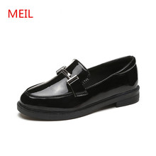 MEIL Patent Leather Shoes Women Black Flats Loafers Casual Female Woman Slip on Ladies Flat Shoes Girls Oxford Shoes for Women first dance women oxfords dr matrins girl casual shoes female leisure shoes for women flats oxford custom 3d prints black shoes