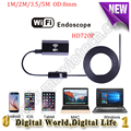 8mm dia 1/2/3.5/5 M USB wireless WiFi endoscope  IOS Android camera PC 720p 6 LED  mini camera Iphone endoscope security camera
