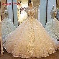 עץ מלאך מדהים שמפניה שמלות הכלה ציפר חזור כדור שמלת תחרת שמלות כלה תמונות אמיתיות vestidos דה noiva bruidsjurken