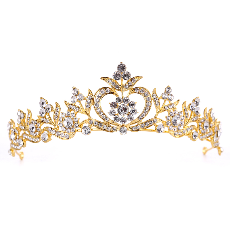 New style Hair Jewelry Vintage Silver Gold Crystal Tiara Princess Wedding Crown For Women Wedding Hair Accessories Headdress 3