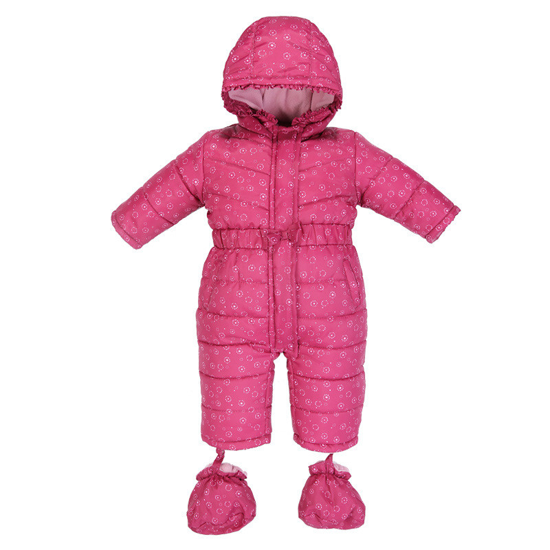 Winter Thicken ClothesFor Newborn Baby Hooded Girls Jumpsuit Flower Printed Footies For Infant One-pieces Overall Padded CL1007